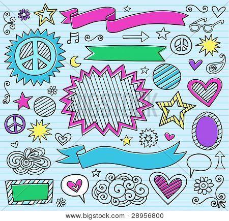 Marcador de tinta psicodélico Notebook Doodle diseño elementos conjunto sobre fondo de papel azul forrado Sketchbook
