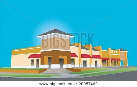 Upscale Beige Strip Mall