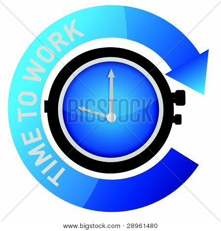 time to work concept illustration design over white