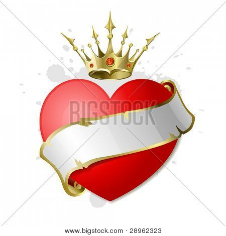 Red heart with white ribbon and a golden crown. Illustration on the Valentine's Day.