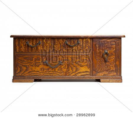 Antique asian drawer chest, made from tamo wood (Japanese ash /Fraxinus spp). Shot square to image dimension, and isolated on white.