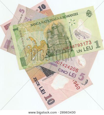 Romanian banknotes - 1, 5 and 10 Romanian leu.
