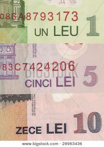 Romanian banknotes - 1, 5 and 10 Romanian leu, the fragment.