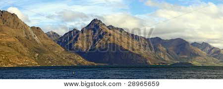 Panorama Scenic Mountain Landscape at Lake Wakatipu of Queenstown New Zealand