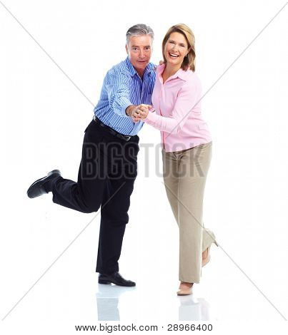 Happy dancing senior couple in love. Isolated over white background.