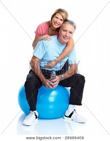Gym, Fitness, healthy lifestyle. Senior couple. Over white background