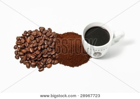 Espreso Coffee Cup Beans And Powder