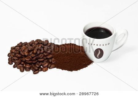Coffe Cup Beans And Powder