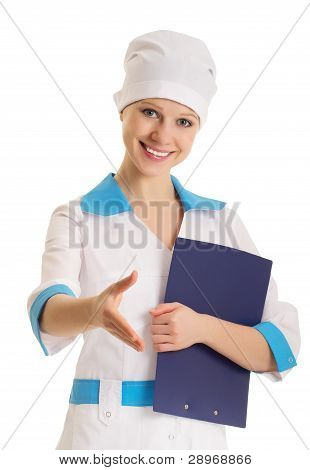 Attractive Young Woman Doctor Shaking Hands