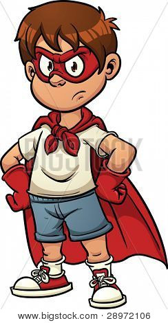 Boy with superhero costume. Vector illustration with simple gradients. All in a single layer.