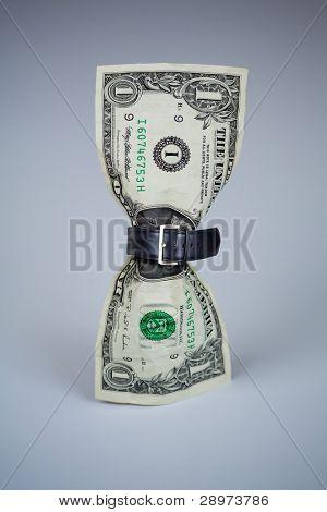 tighten belt on dollar concept
