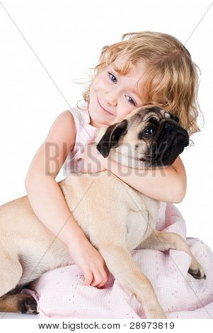 Cute Smiling Girl With Lovely Dog Isolated On White
