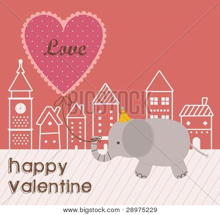 Cute Elephant Walking with a Love Ballon in City. Happy Valentine Design.