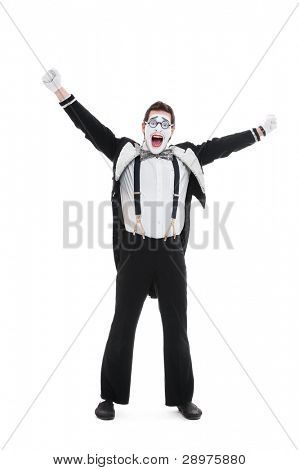 portrait of happy mime. isolated on white background