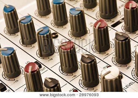 Controllers Of Audio Mixing Console Close-up.