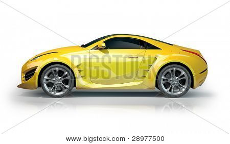 Yellow sports car isolated on white background. Non-branded car design.