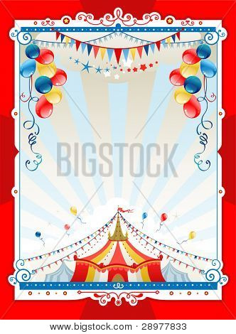 Bright circus frame with space for text