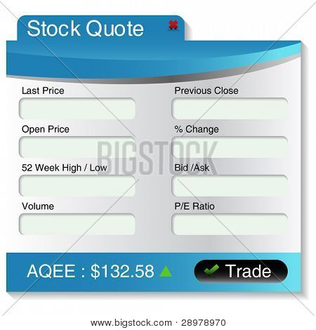 An image of a stock market quote menu.