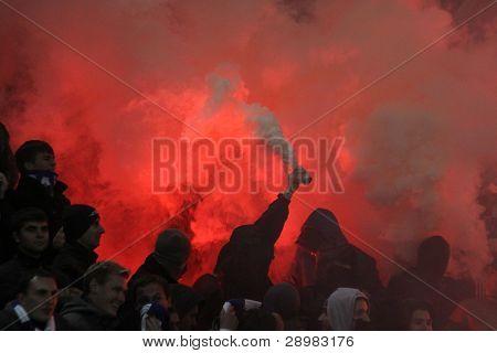 Fc Dynamo Kyiv Ultras (ultra Supporters) Burn Flares