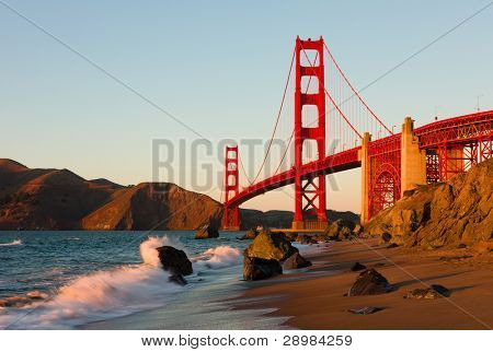 Golden Gate Bridge in San Francisco at sunset