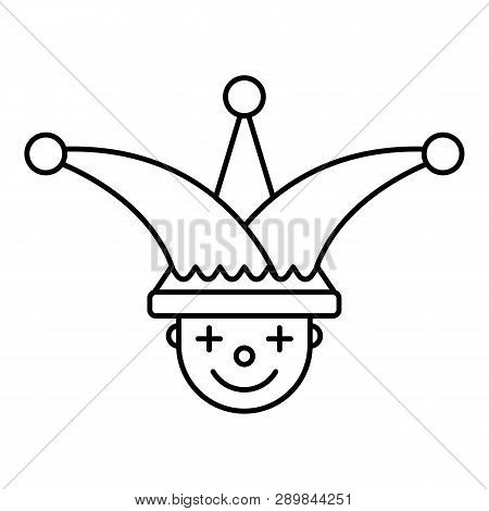 Jester Face Hat Icon Outline