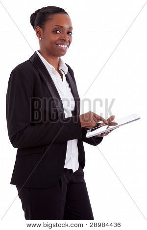 Smiling African American Businesswoman Using A Tablet