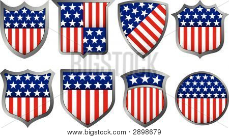 Eight Different Red White And Blue Shields