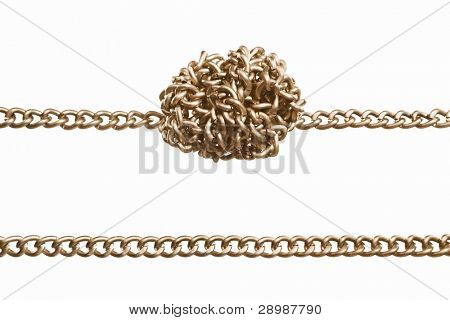 Straight and twisted golden chain in parallel,  isolated against white background