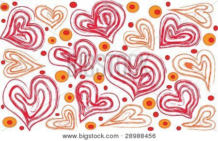 Hearts And Shallow Circles On A White Background