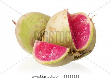 Sliced fresh radish isolated on white background