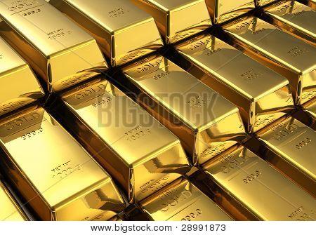 Pilas de lingotes de oro