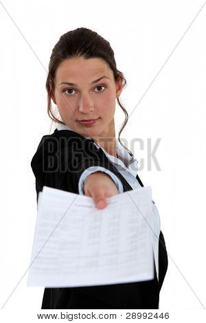 Woman giving contract