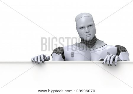 Android Roboter Holding blank sign