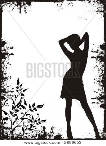 Girl On Grunge Background