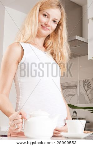 Pregannt Woman In Kitchen