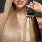 Beautiful Blond Girl With A Perfectly Smooth Hair, Classic Make-up With A Palette For Hair Extension poster