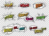 Comic Book Sound Effect Speech Bubbles, Expressions. Collection Vector Bubble Icon Speech Phrase, Ca poster