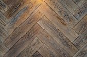 Wooden Floor Texture - Old Premium Oak Parquet In Close-up. poster