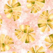 Tropical Seamless Pattern. Watercolor Childish Palm Leaves, Japanese Bamboo. Yellow Exotic Swimwear  poster