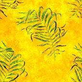 Tropical Seamless Pattern. Watercolor Flapping Palm Leaves, Japanese Bamboo. Yellow Exotic Swimwear  poster