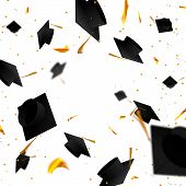 Graduate Caps And Confetti On A White Background. The Caps Come Out From The Side. Typography Greeti poster