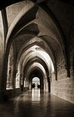 stock photo of church interior  - Interior view of the Monasterio de Piedra - JPG