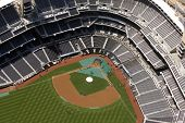 Aerial view of an empty Petco Park - Home of the San Diego Padres Professional Baseball Team