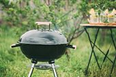 Kettle Barbecue Grill With Cover. Barbecue Background poster