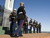 LA JOLLA, CA - OCTOBER 16: United States Marine Corps honor guard during a ceremony honoring fallen