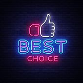 Best Choice Neon Sign Vector. Best Choice Design Template Neon Signboard, Light Banner, Neon Signboa poster