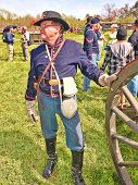 VISTA, CALIFORNIA - MARCH 5: American Civil War (1861-1865) is reenacted on a battlefield by a Union