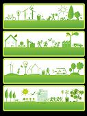 four green banners with ecology elements