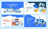Set Of Flat Design Web Page Templates Of  Web Development, Business Apps And Solutions, Startup, Onl poster