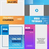 Flat Banner Training Online, Courses Education, Video Tutorials. Vector Illustration On Colored Back poster